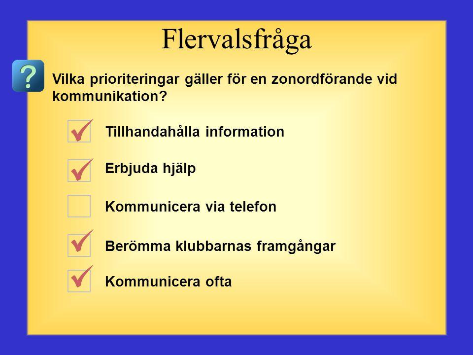 Flervalsfråga Vilka prioriteringar gäller för en zonordförande vid kommunikation Tillhandahålla information.