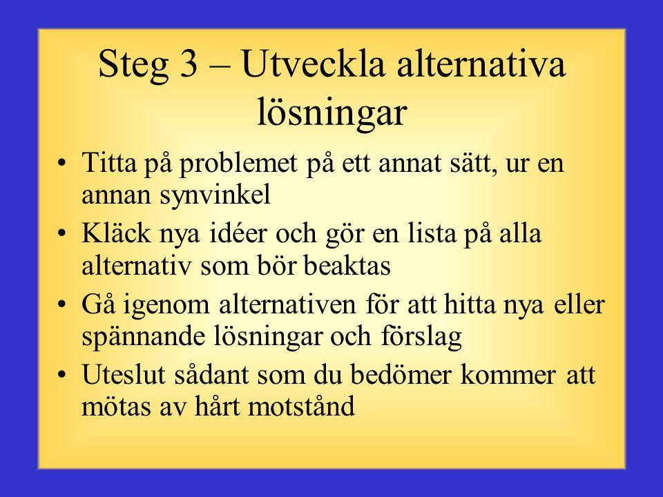 Steg 3 – Utveckla alternativa lösningar