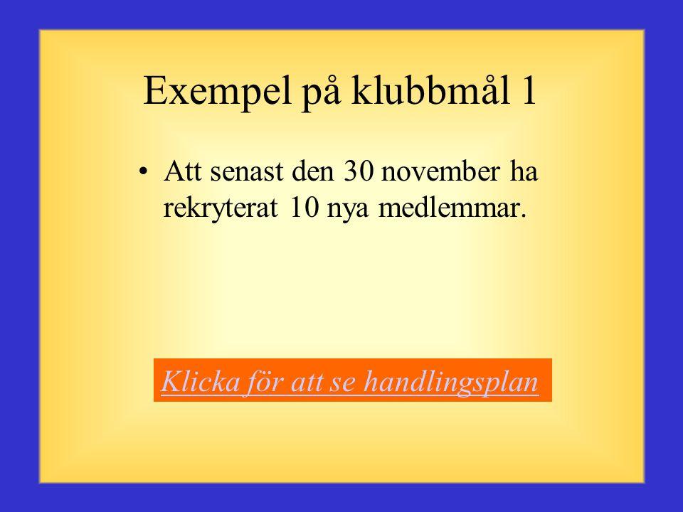 Exempel på klubbmål 1 Att senast den 30 november ha rekryterat 10 nya medlemmar.