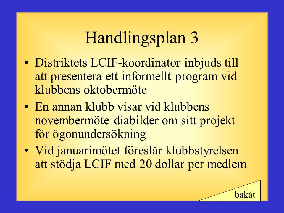 Handlingsplan 3 Distriktets LCIF-koordinator inbjuds till att presentera ett informellt program vid klubbens oktobermöte.