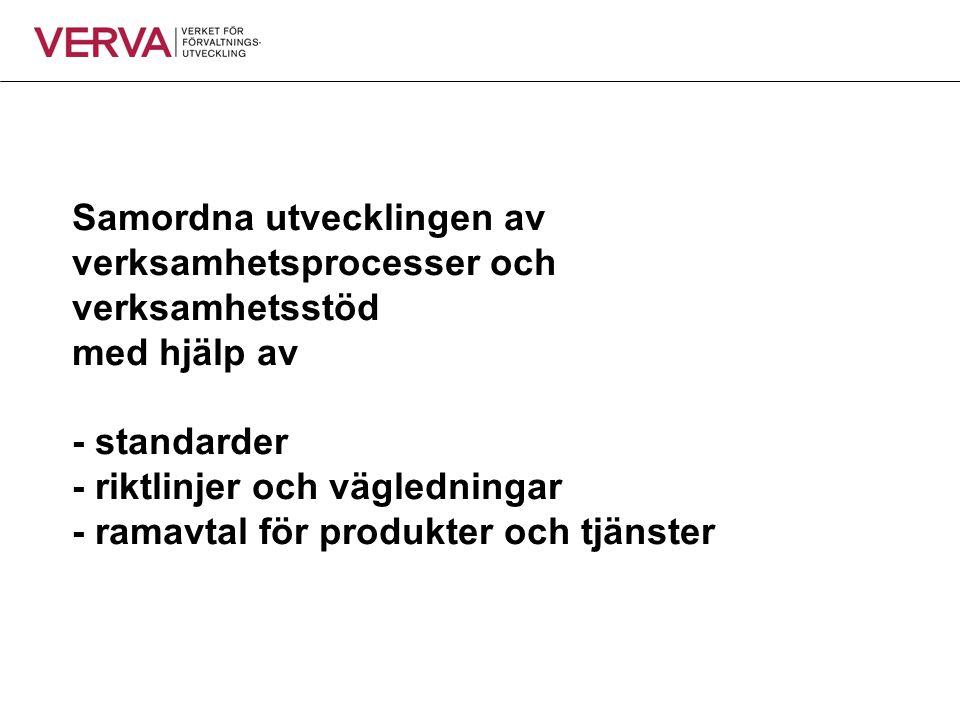 Samordna utvecklingen av verksamhetsprocesser och verksamhetsstöd med hjälp av - standarder - riktlinjer och vägledningar - ramavtal för produkter och tjänster