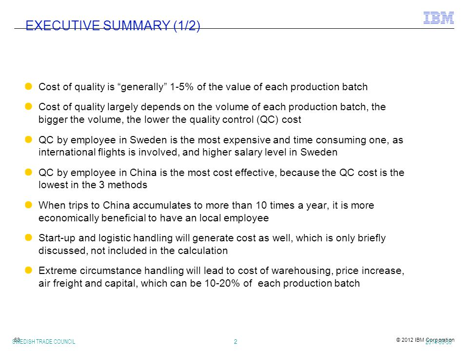 EXECUTIVE SUMMARY (1/2) Cost of quality is generally 1-5% of the value of each production batch.
