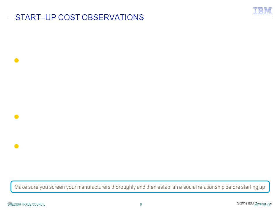 START–UP COST OBSERVATIONS