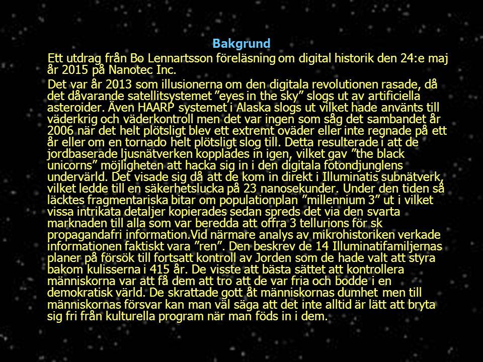 Bakgrund Ett utdrag från Bo Lennartsson föreläsning om digital historik den 24:e maj år 2015 på Nanotec Inc.