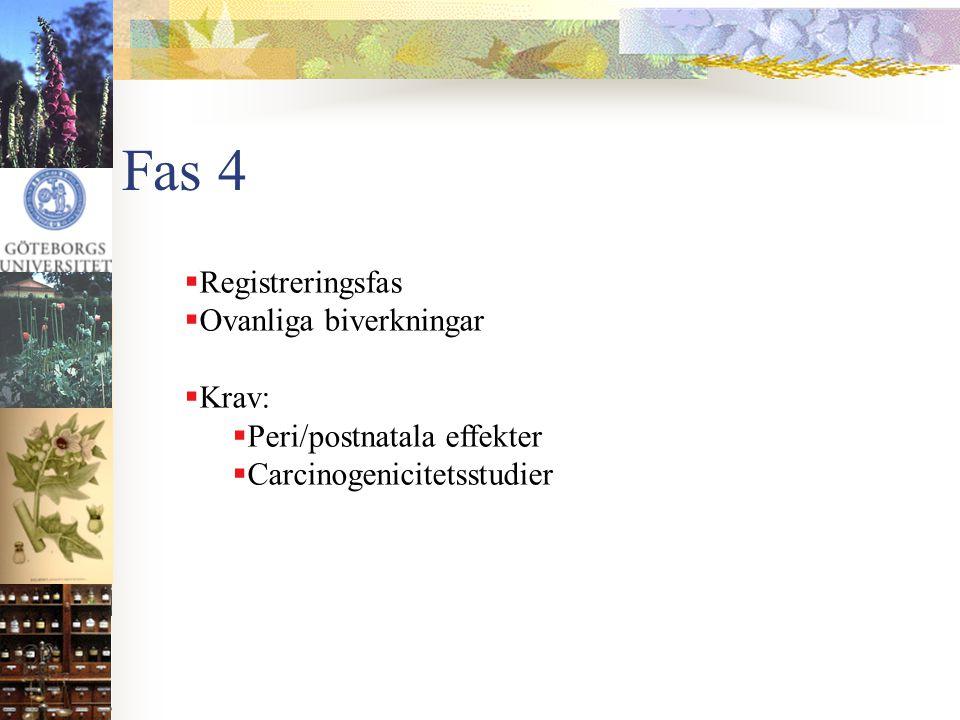 Fas 4 Registreringsfas Ovanliga biverkningar Krav: