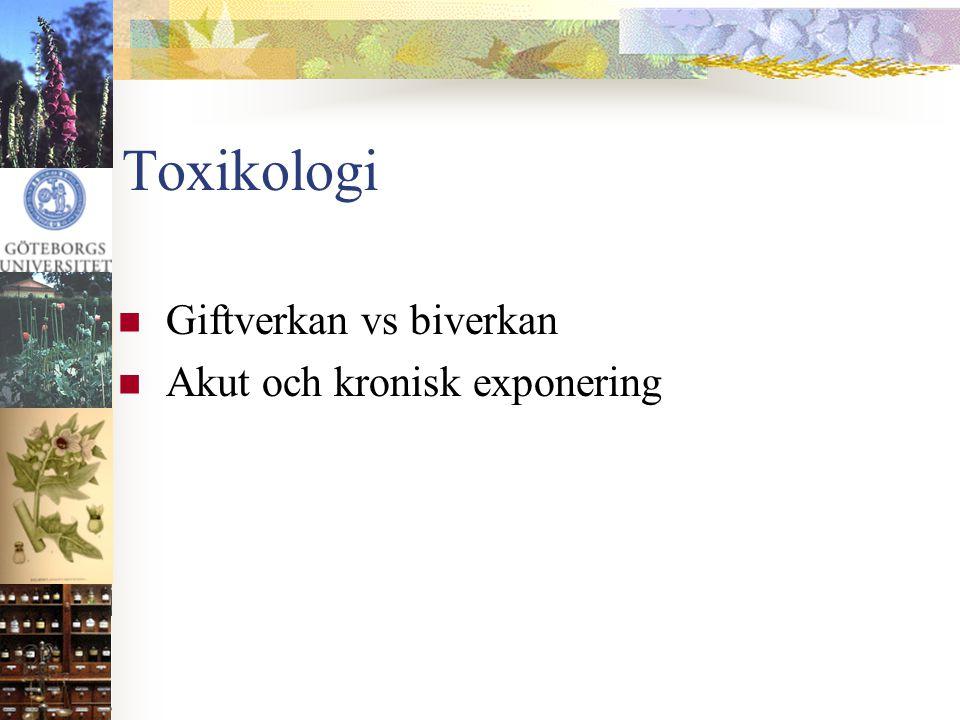 Toxikologi Giftverkan vs biverkan Akut och kronisk exponering