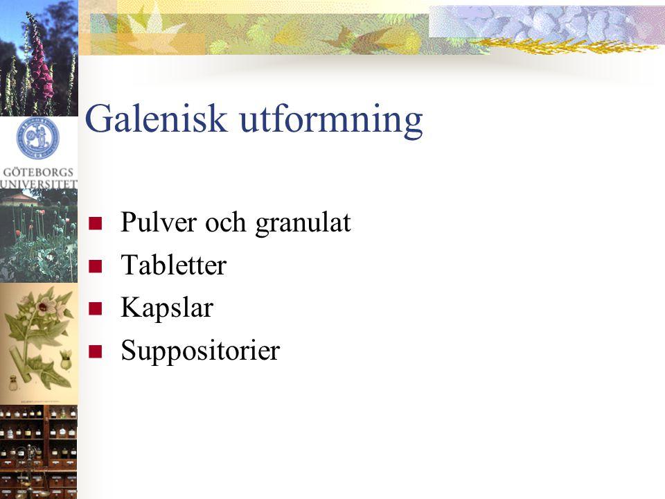 Galenisk utformning Pulver och granulat Tabletter Kapslar