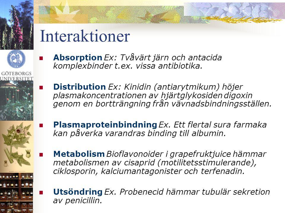 Interaktioner Absorption Ex: Tvåvärt järn och antacida komplexbinder t.ex. vissa antibiotika.