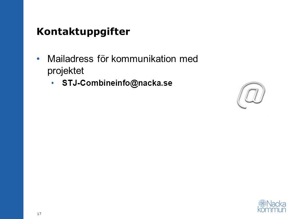 Mailadress för kommunikation med projektet