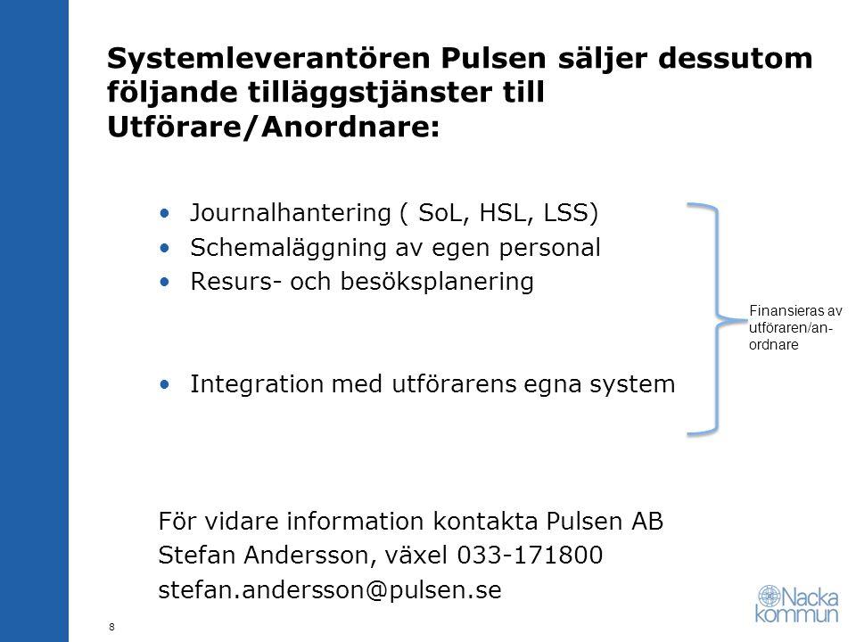 Systemleverantören Pulsen säljer dessutom följande tilläggstjänster till Utförare/Anordnare: