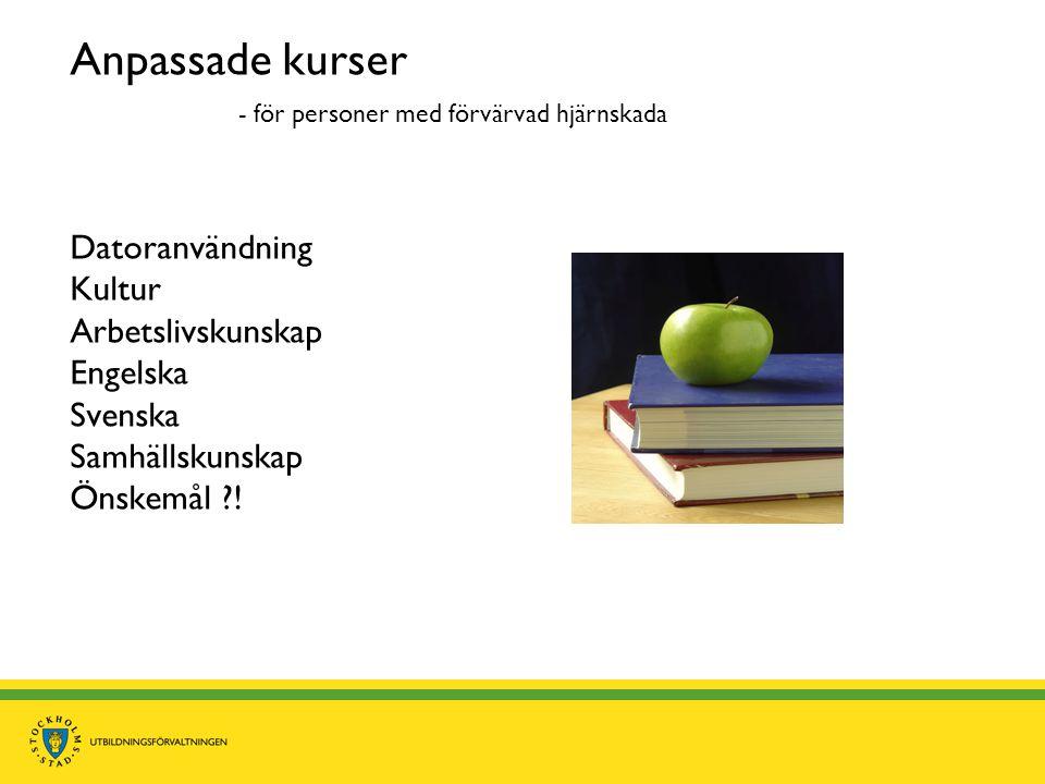 Anpassade kurser - för personer med förvärvad hjärnskada Datoranvändning Kultur Arbetslivskunskap Engelska Svenska Samhällskunskap Önskemål !