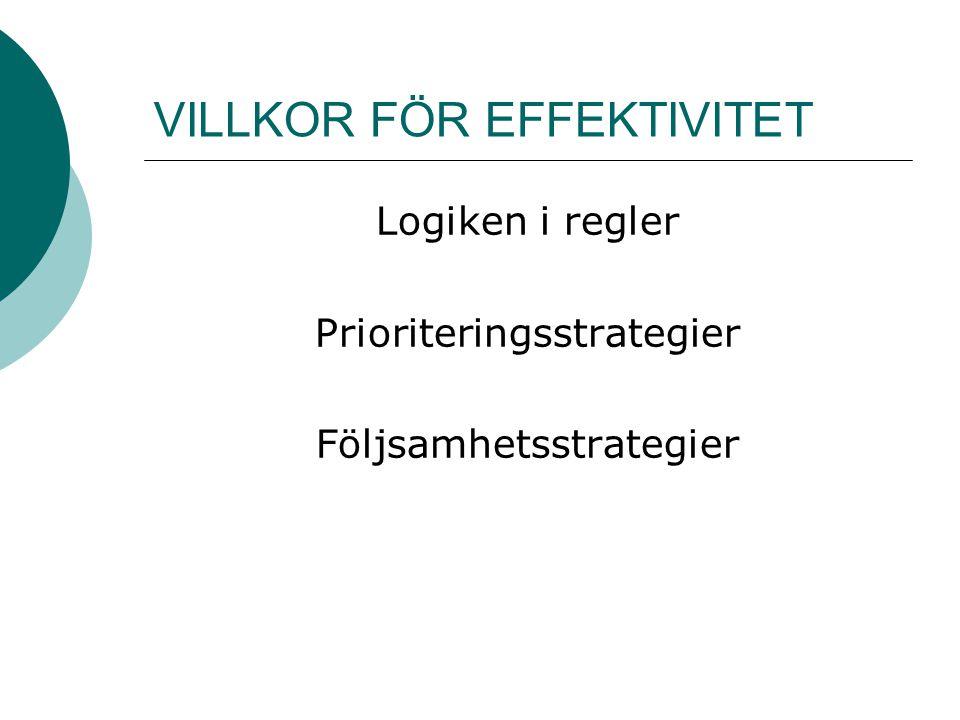 VILLKOR FÖR EFFEKTIVITET