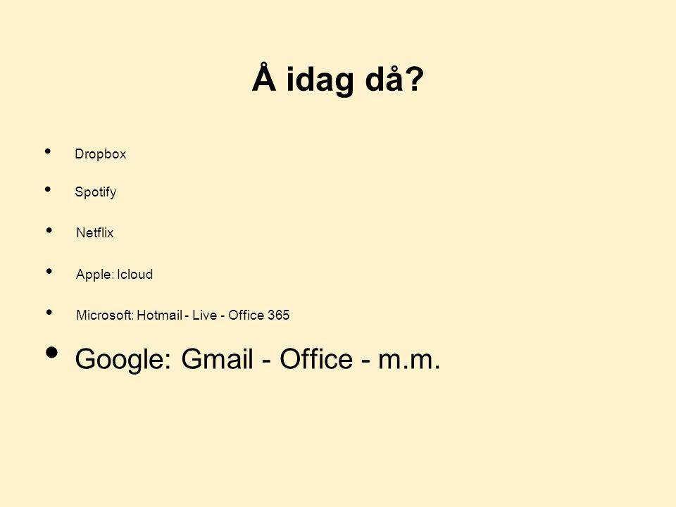 Å idag då Google: Gmail - Office - m.m. Dropbox Spotify Netflix
