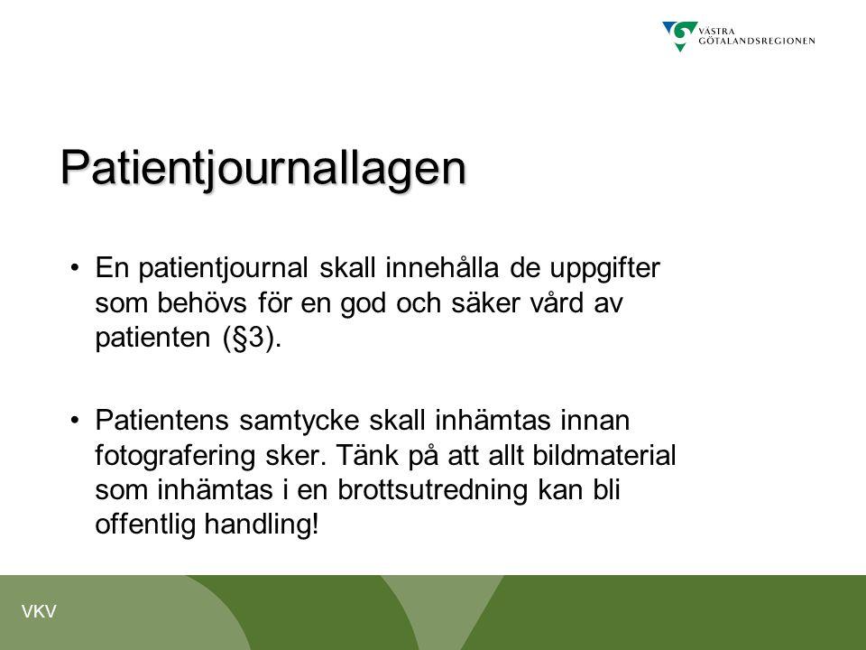 Patientjournallagen En patientjournal skall innehålla de uppgifter som behövs för en god och säker vård av patienten (§3).