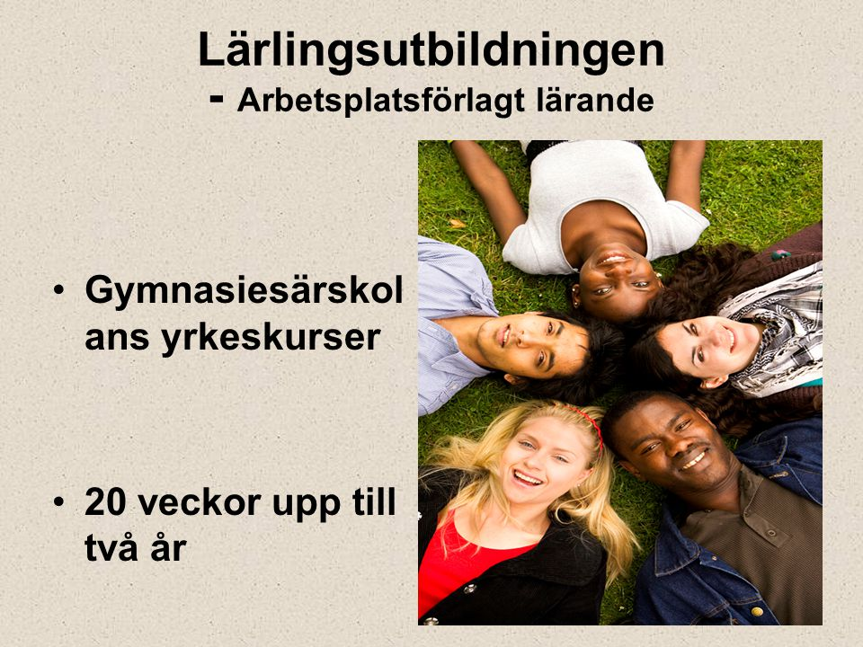 Lärlingsutbildningen - Arbetsplatsförlagt lärande