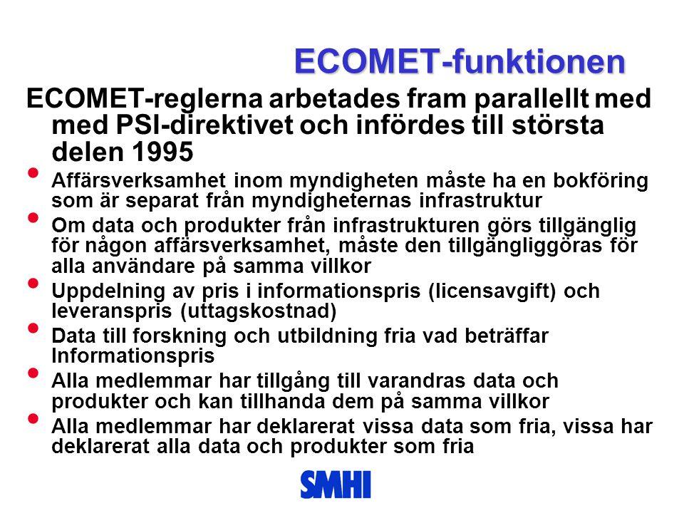 ECOMET-funktionen ECOMET-reglerna arbetades fram parallellt med med PSI-direktivet och infördes till största delen 1995.