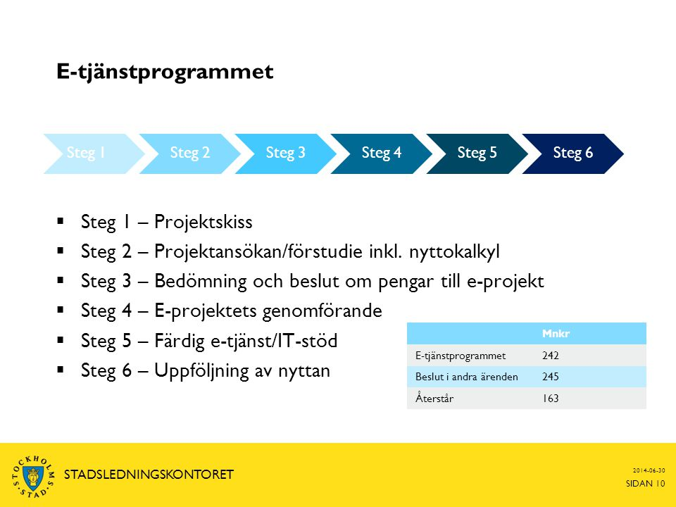 E-tjänstprogrammet Steg 1 – Projektskiss