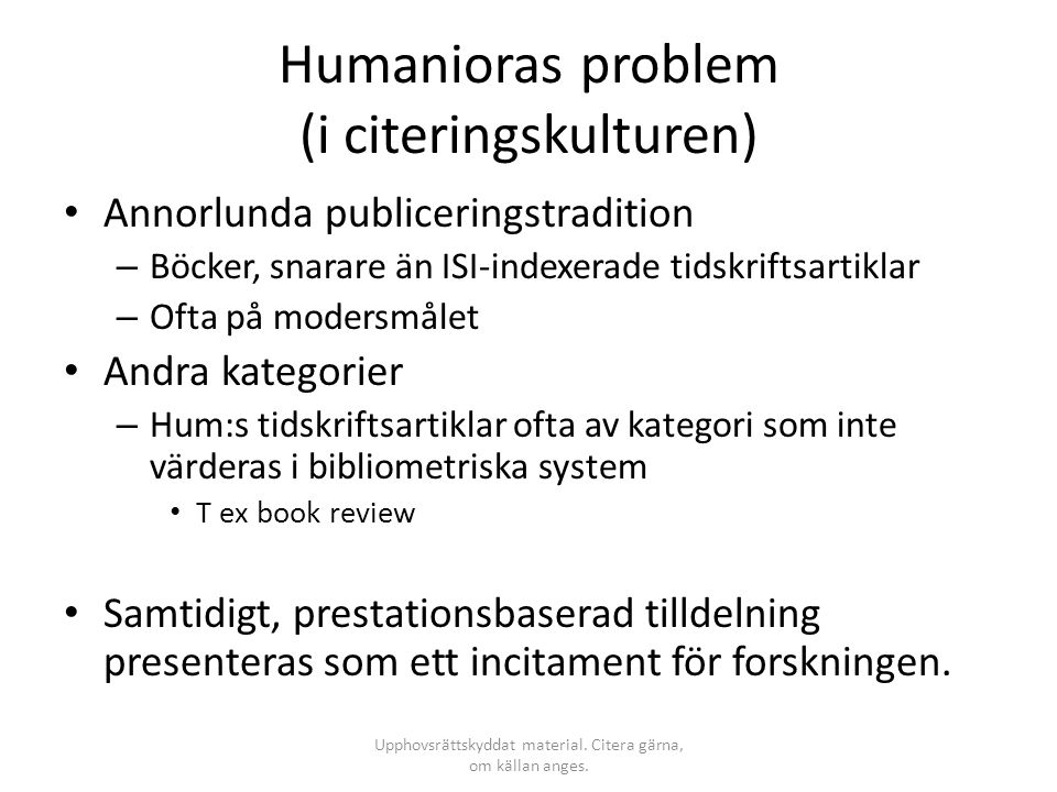Humanioras problem (i citeringskulturen)