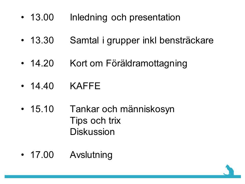 13.00 Inledning och presentation