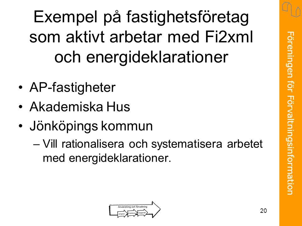 Exempel på fastighetsföretag som aktivt arbetar med Fi2xml och energideklarationer