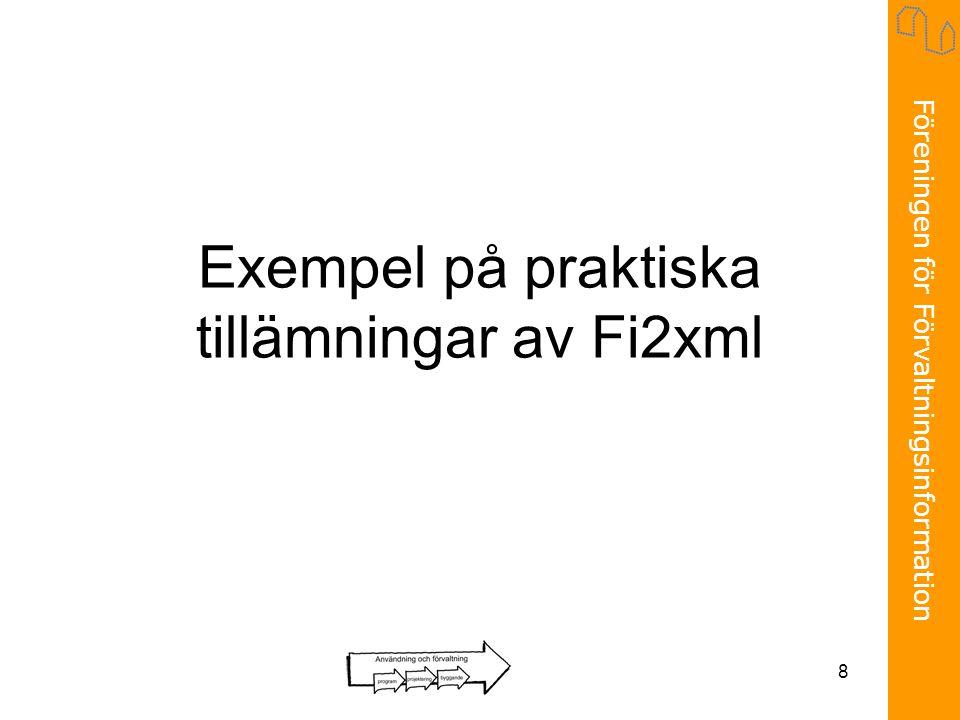 Exempel på praktiska tillämningar av Fi2xml