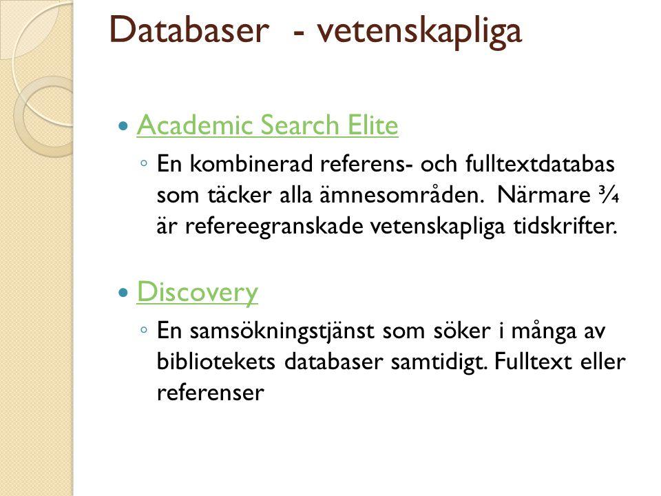 Databaser - vetenskapliga