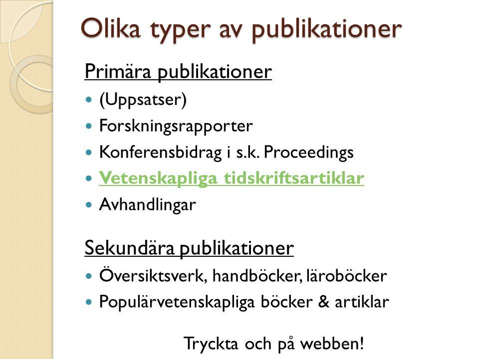 Olika typer av publikationer