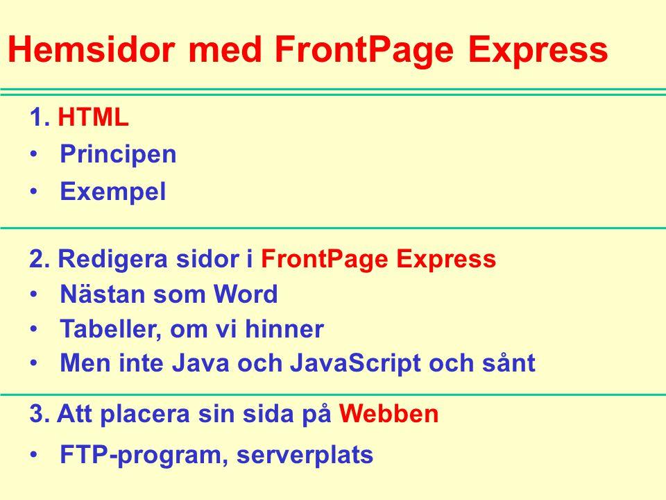 Hemsidor med FrontPage Express