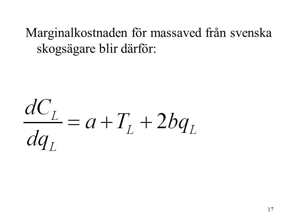Marginalkostnaden för massaved från svenska skogsägare blir därför: