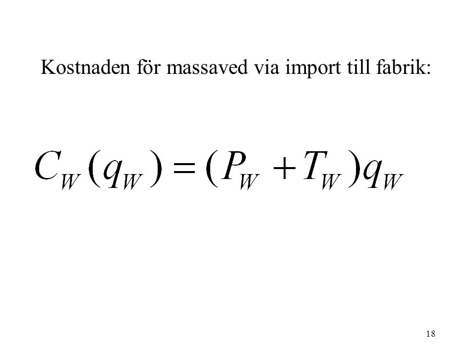 Kostnaden för massaved via import till fabrik: