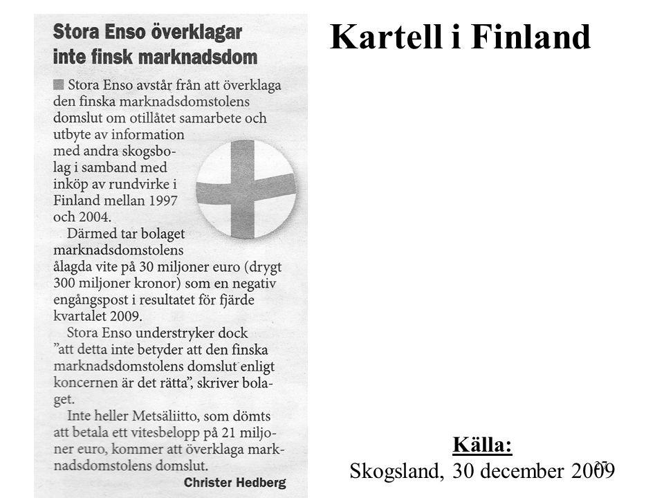 Kartell i Finland Källa: Skogsland, 30 december 2009