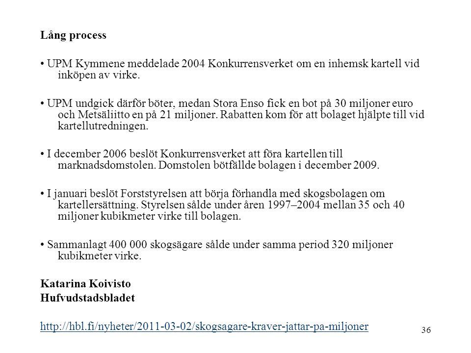 Lång process • UPM Kymmene meddelade 2004 Konkurrensverket om en inhemsk kartell vid inköpen av virke.