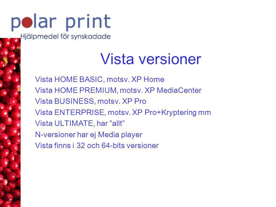 Vista versioner Vista HOME BASIC, motsv. XP Home