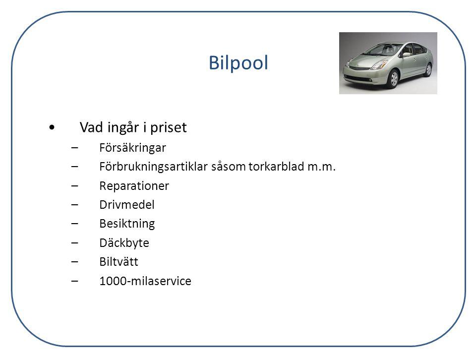 Bilpool Vad ingår i priset Försäkringar