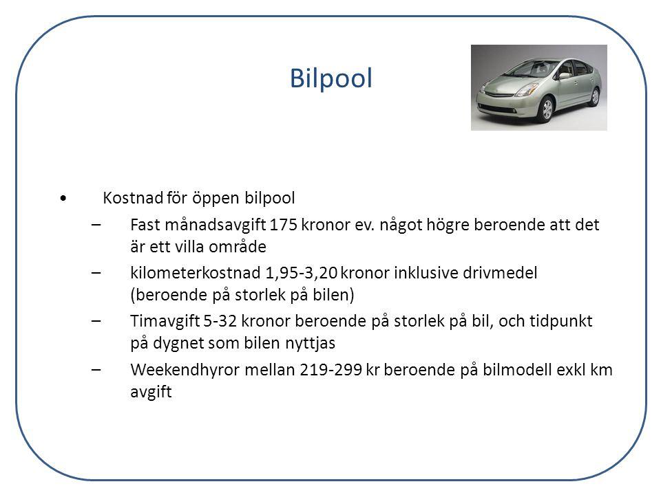 Bilpool Kostnad för öppen bilpool