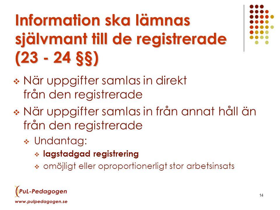 Information ska lämnas självmant till de registrerade (23 - 24 §§)