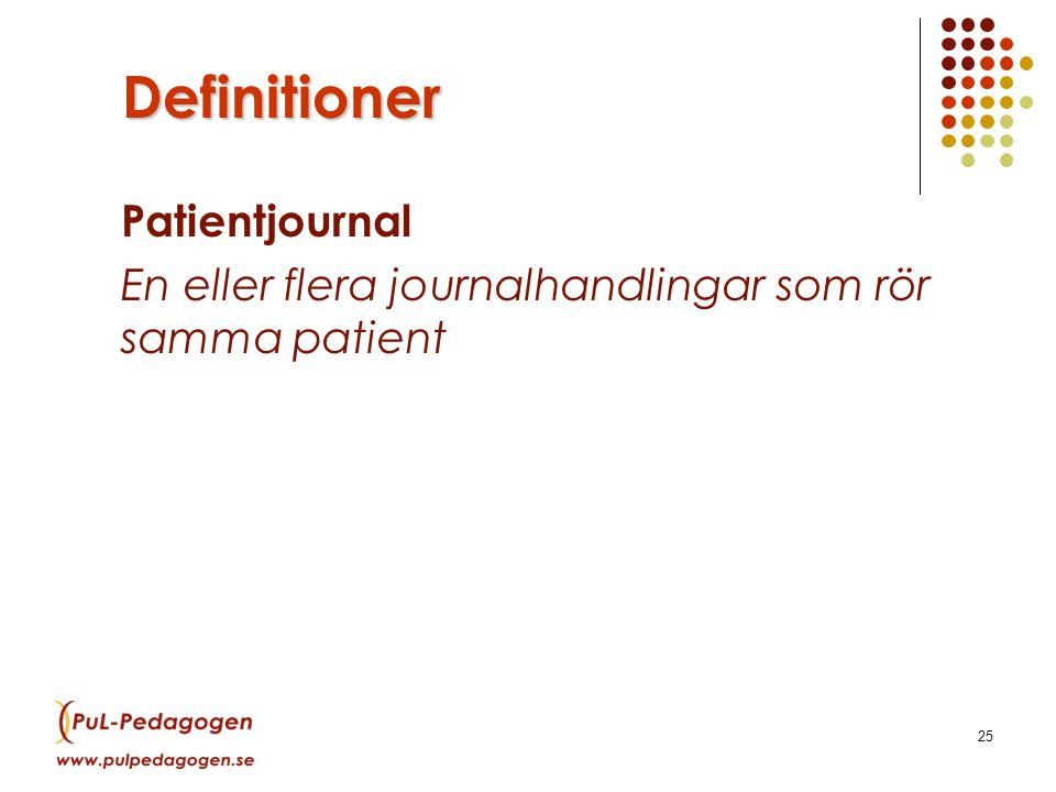 Definitioner Patientjournal