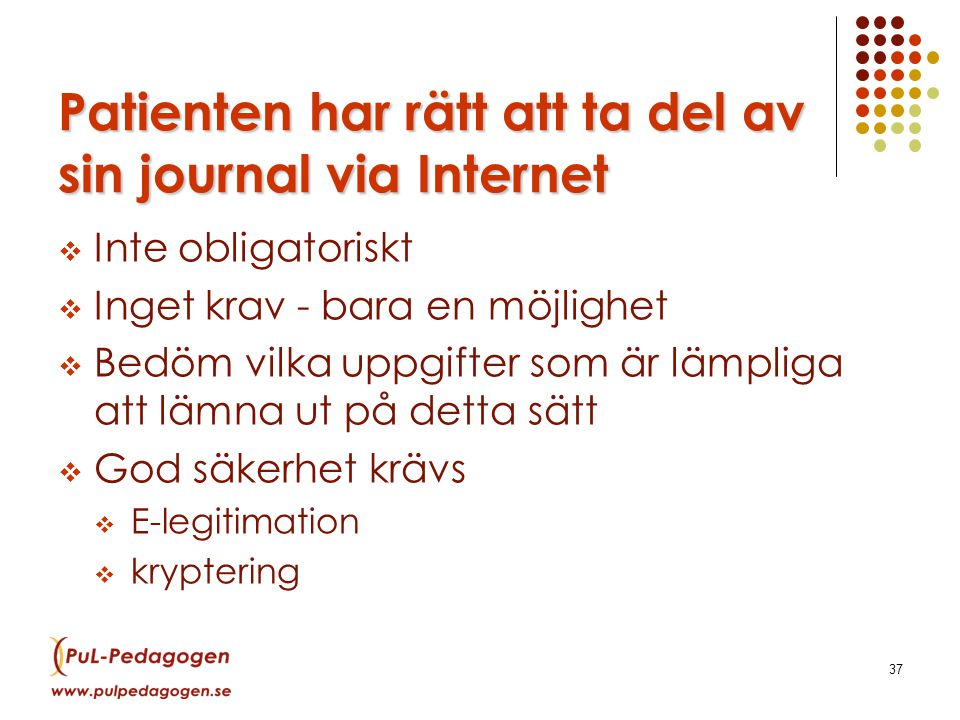 Patienten har rätt att ta del av sin journal via Internet