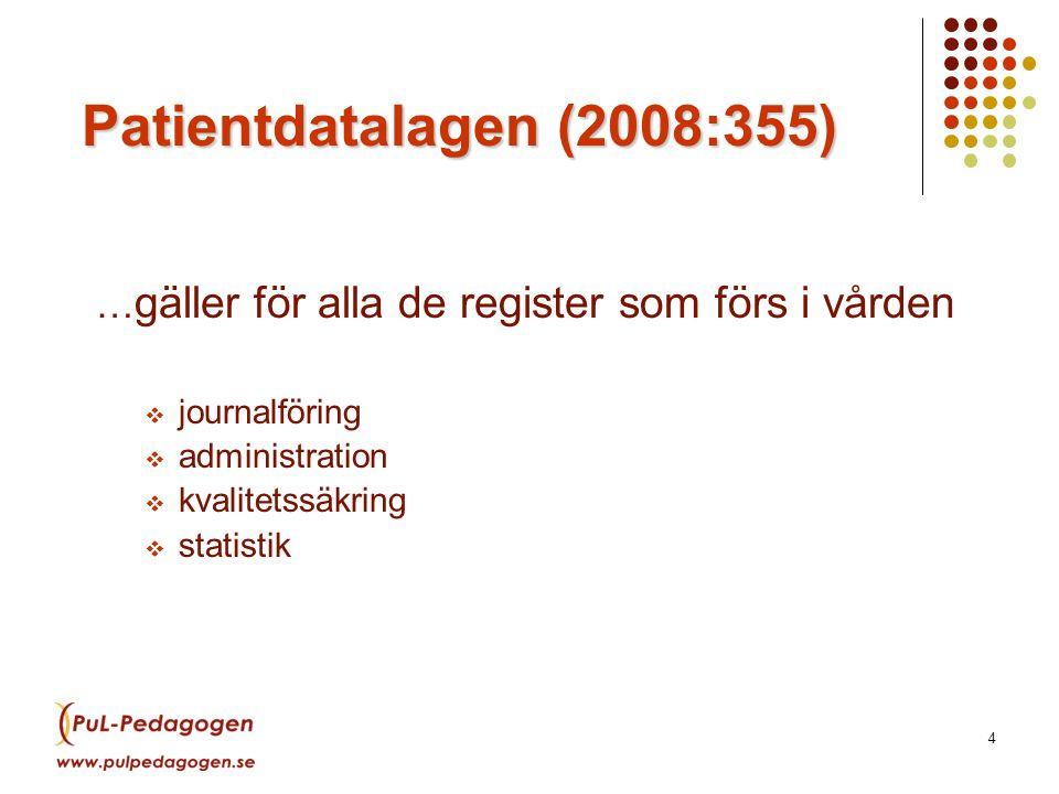 LSF 15 maj 2009. Patientdatalagen (2008:355) …gäller för alla de register som förs i vården. journalföring.