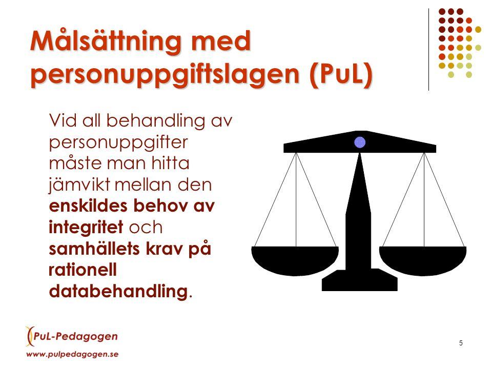 Målsättning med personuppgiftslagen (PuL)
