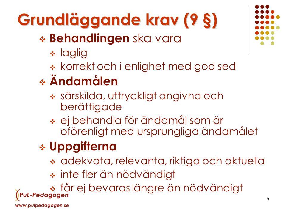 Grundläggande krav (9 §)