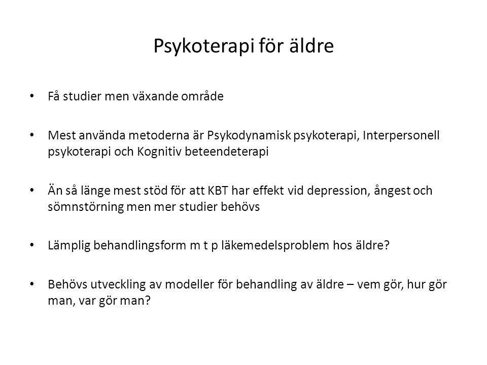 Psykoterapi för äldre Få studier men växande område