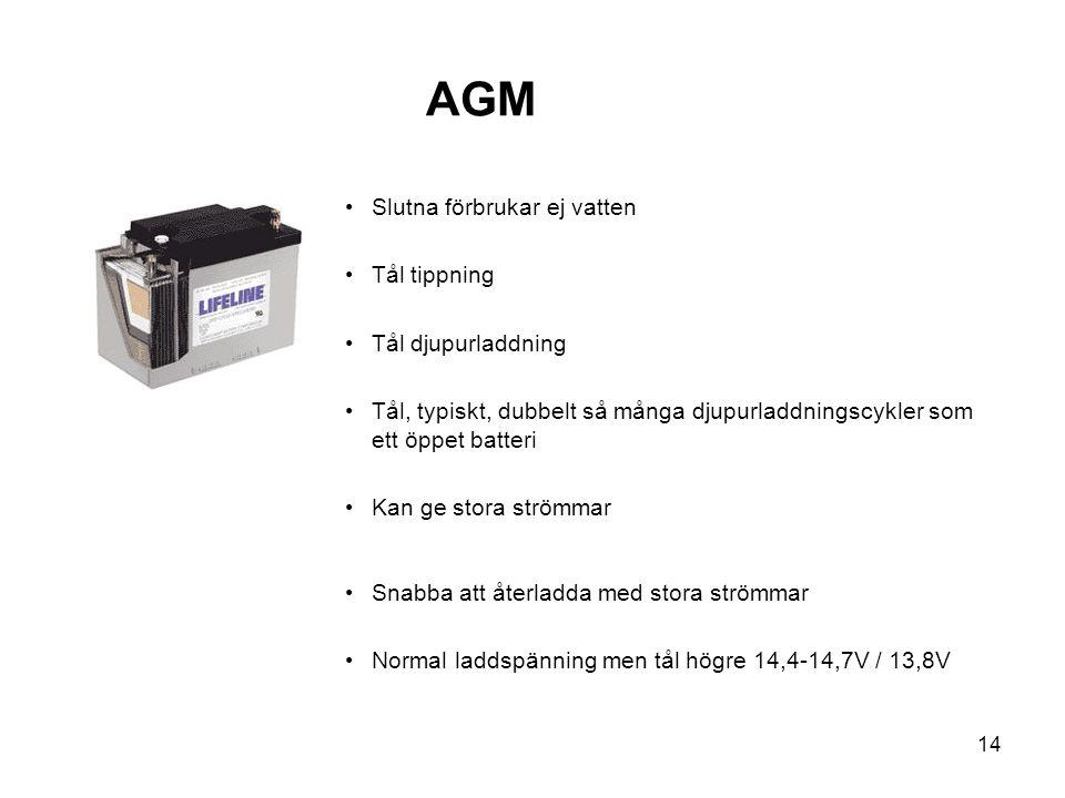 AGM Slutna förbrukar ej vatten Tål tippning Tål djupurladdning