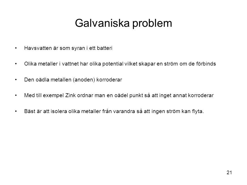 Galvaniska problem Havsvatten är som syran i ett batteri