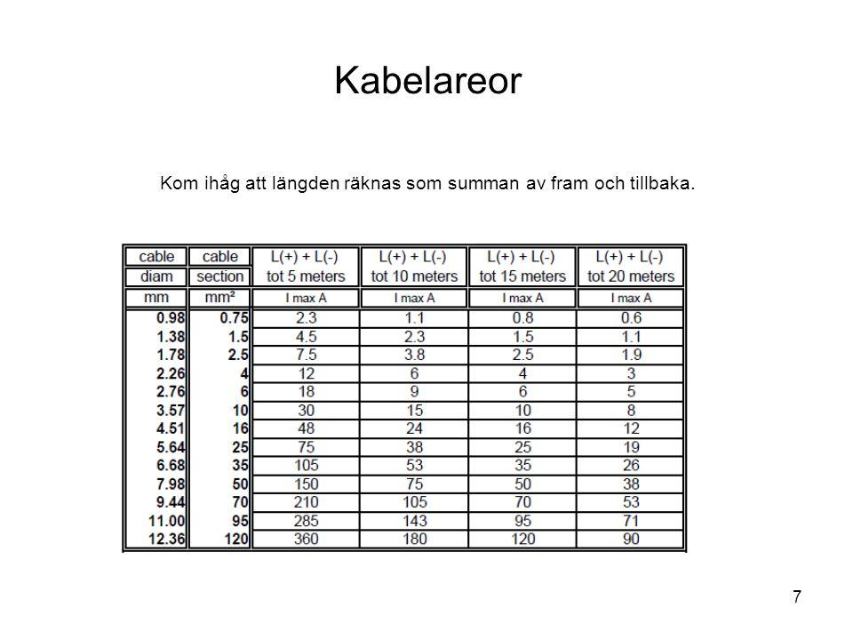Kabelareor Kom ihåg att längden räknas som summan av fram och tillbaka.