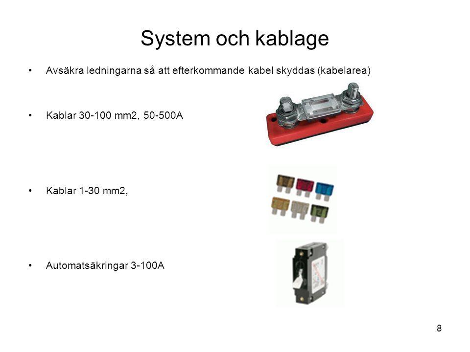 System och kablage Avsäkra ledningarna så att efterkommande kabel skyddas (kabelarea) Kablar 30-100 mm2, 50-500A.
