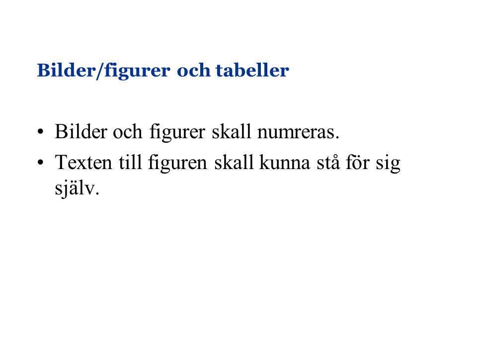 Bilder/figurer och tabeller