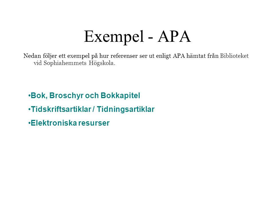 Exempel - APA Bok, Broschyr och Bokkapitel