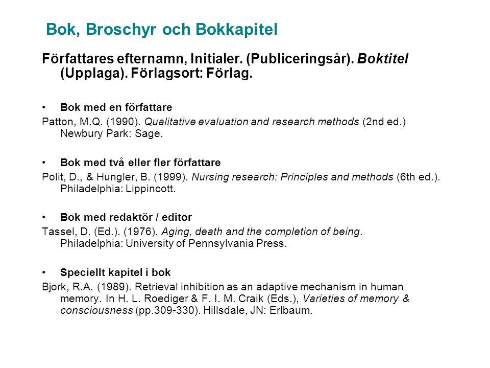 Bok, Broschyr och Bokkapitel