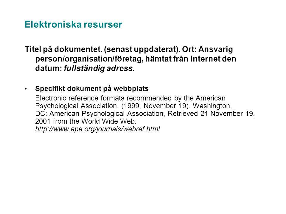 Elektroniska resurser